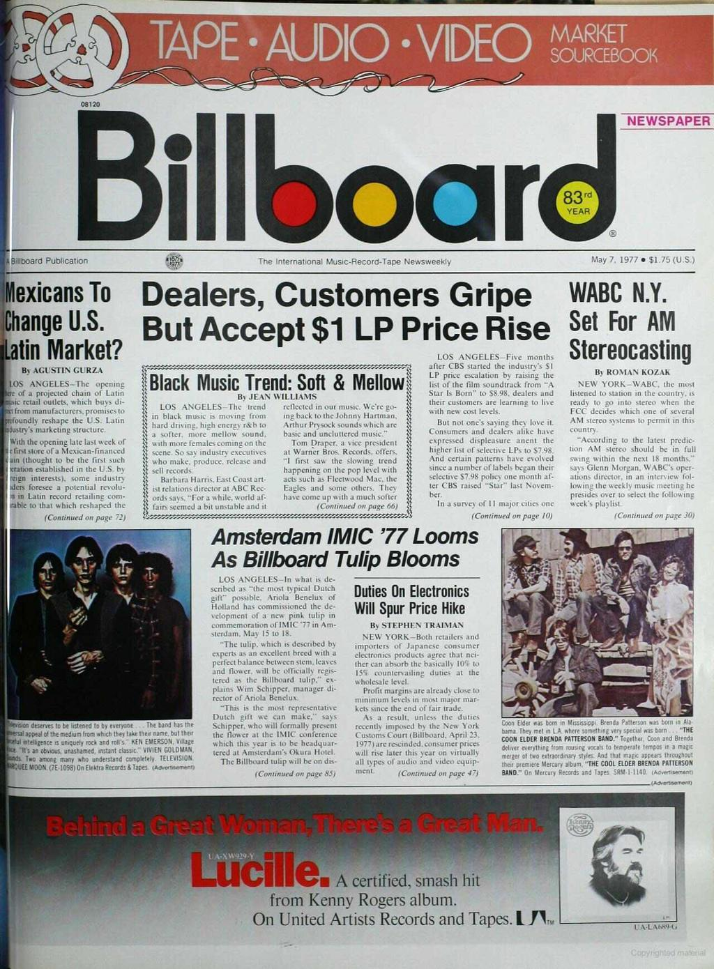 E AUDIOS VIDEO SOÚRCEBOOIt O820 NEWSPAPER Billboard Publication!! The International Music- Record -Tape Newsweekly May 7. 977 $.75 (U.S.) 'Mexicans To Change U.S. afin Market?