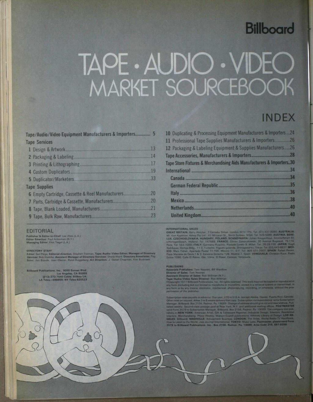 Billboard TAPE AUDIO VIDE MARKET SOURCEBOOK t!