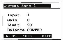 Manage Amplifier Output Zones View or Change Output Settings To view or change source settings: 1. On the In to Out Assignments screen, press the Setup button.