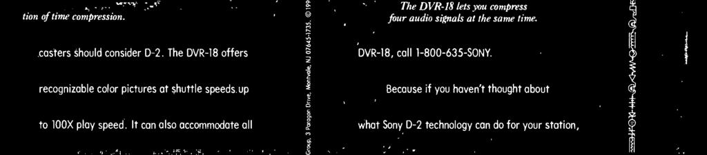 The DVR -18 offers DVR -18, call 1-800- 635