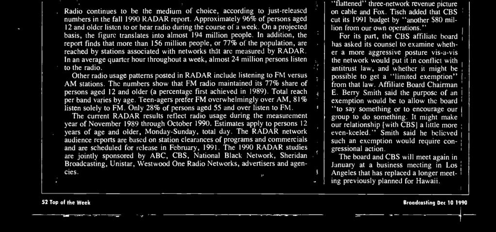 Copyright Statistic-al Research ne. Radio continues to be the medium of choice, according to just -released numbers in the fall 1990 RADAR report.