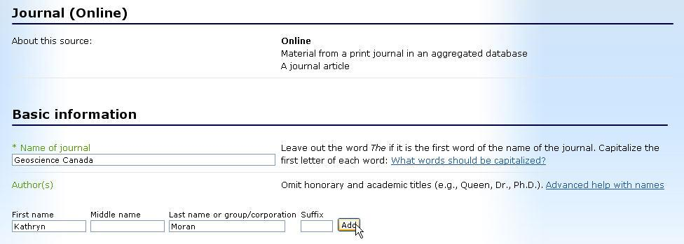 Step 12: Start inputting the data Type in the journal title (use initial capitals and