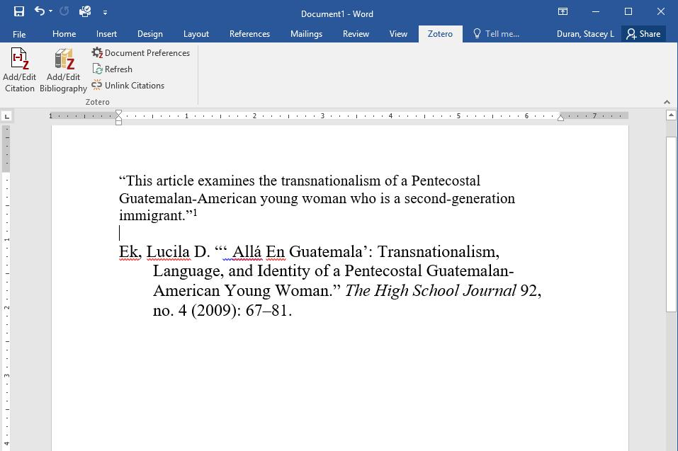 Inserting a Bibliography. Move your cursor to a new line at the end of your paper. Click on Add/Edit Bibliography.