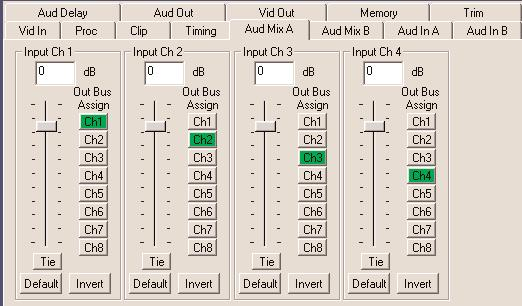 When an 8415 Audio Processor submodule is installed, use the Aud Mix A and B menus shown to control the audio input levels and mixing and shuffling of the audio inputs to output.