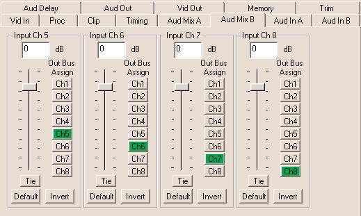 For Channels 5 8, use the Audio Mix B menu shown below to set the following Input Ch 5 assign Input Channel 5 to the desired output bus or tie to Channel 6.