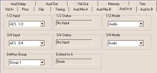 Use the Aud In A menu shown below for the 8415 to adjust the following parameters: 1/2 Input select the input audio source for Input 1/2. 3/4 Input select the input audio source for Input 3/4.