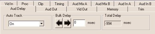 Use the Aud Delay menu shown below to adjust the amount of audio delay on the output: Auto Track enable auto tracking by selecting On or Off.