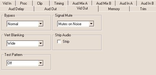 Signal Mute set to either mute the output to black when noise is present, to freeze to the last frame, or select no muting. Strip Audio select the box to strip embedded audio from the output.