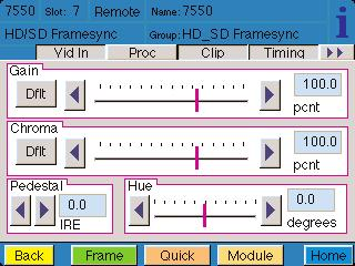 The Proc menu shown below allows you to adjust the following video processing parameters for the signal: Gain adjust the percentage of overall gain (luminance and chrominance).