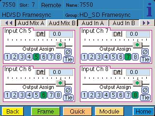 Use the Aud In B menu shown below for the 8415 to adjust the following parameters: 5/6 Input select the input audio source for Input 5/6. 7/8 Input select the input audio source for Input 7/8.