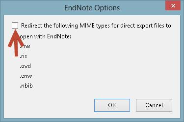 Mark the box labeled Redirect the following MIME types for direct export files to open with EndNote: if you want the results to be sent to EndNote online.