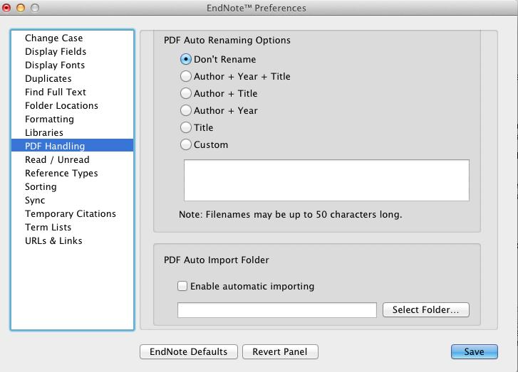 Click the PDF Handling option in the preferences panel to see the window below. Here you can set automatic renaming options for PDFs you import or set a watched automatic importing folder.