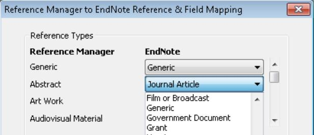 If you have selected to customize your conversion, in the top half of the field mapping window you can select the EndNote reference type that each Reference Manager reference type will import as.