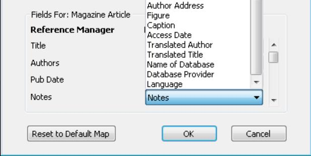 You can change these options if you wish using the drop-down list for each match in the EndNote column.