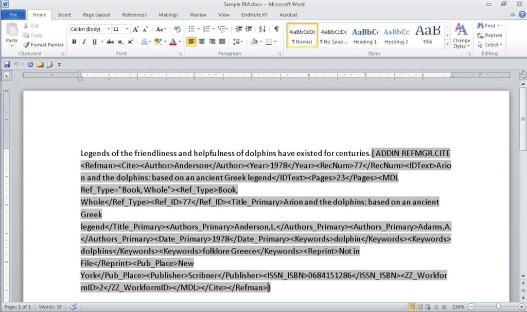 3.1.3 Converting Word Documents with Reference Manager Citations Although you normally would not see the codes shown here, what you see below is an example of the actual coding that is inserted into