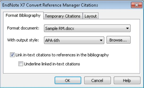 EndNote will display the screen below, where you can select a style and set layout options much as