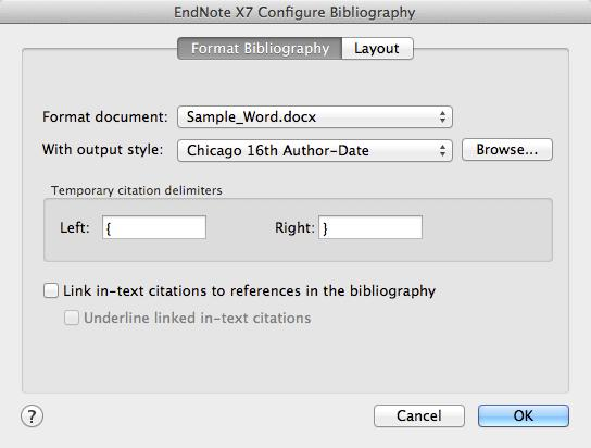 Changing these options using Word commands would not effect permanent changes; you must use the Configure Bibliography command to permanently change options such as font or line spacing in the