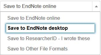 Scopus Go to your database, do a search and select the record(s) you wish to export by ticking the relevant box (es), then: 1. Click on Export. 2. Choose RIS format (eg: EndNote, Reference Manager) 3.