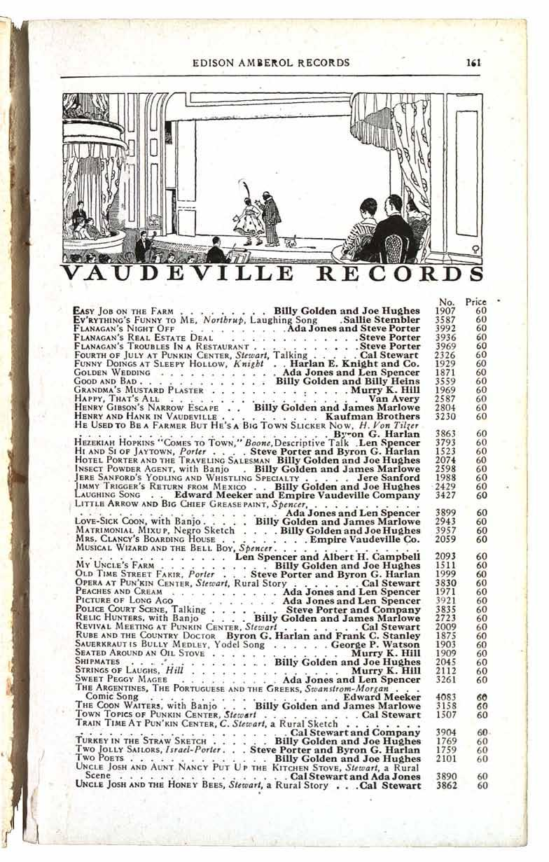 EDISON AMDEROL RECORDS VAUDEVILLE RECORDS No Price EASY JOB ON THE FARM Billy Golden and Joe Hughes 1907 EV'RYTHING'S FUNNY TO ME, Northrup, Laughing Song Stembler 3587 FLANAGAN'S NIGHT OFF Sallie