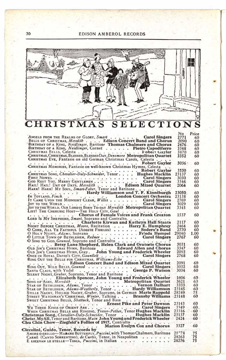 EDISON AMBEROL RECORDS CHRISTMAS SELECTIONS No Price ANGELS FROM THE REALMS OF GLORY, Smart Carol Singers 2771 BELLS OF CHRISTMAS, Meredith Edison Concert Band and Chorus 2090 BIRTHDAY OF A KING,