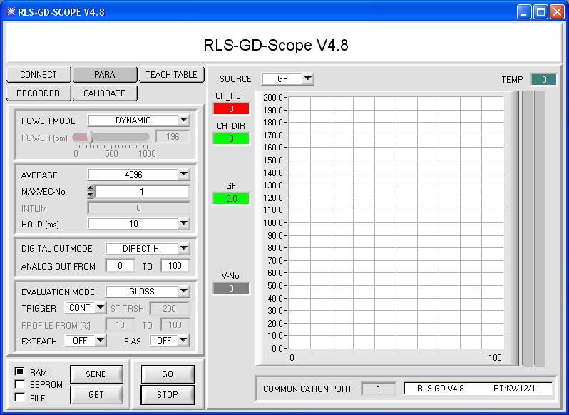 Parameterization Windows user interface: The RLS-GD gloss sensor is parameterized under Windows with the RLS-GD-Scope software.