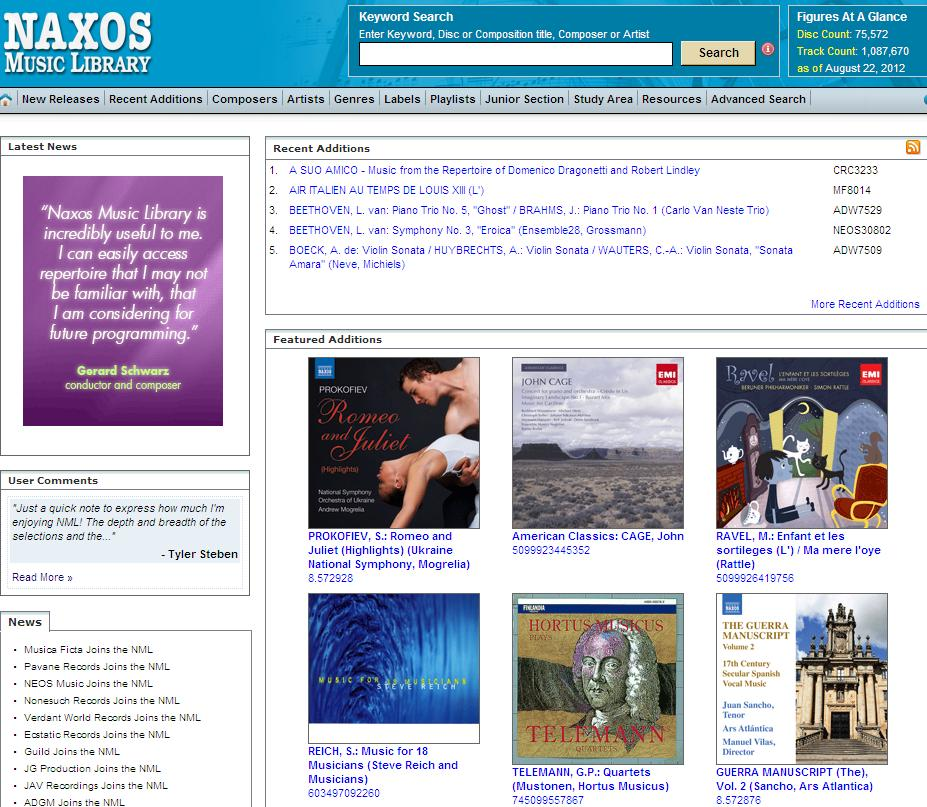 Most recordings come with scholarly notes which have been written by respected musicologists. NAXOS has over a million tracks, and more than 75,000 CDs.