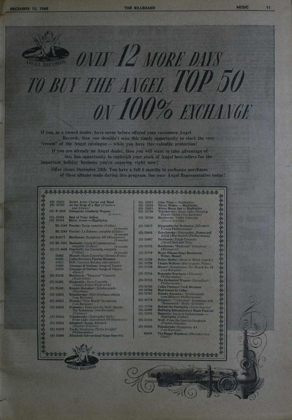 DECEMBER 12, 1960 THE BILLBOARD MUSIC 11 oiwy12 YON ki l ; l i t1/62z TOP 50 av 100% ficff41161 If you, as a record dealer. have never before offered your customers Angel Records.