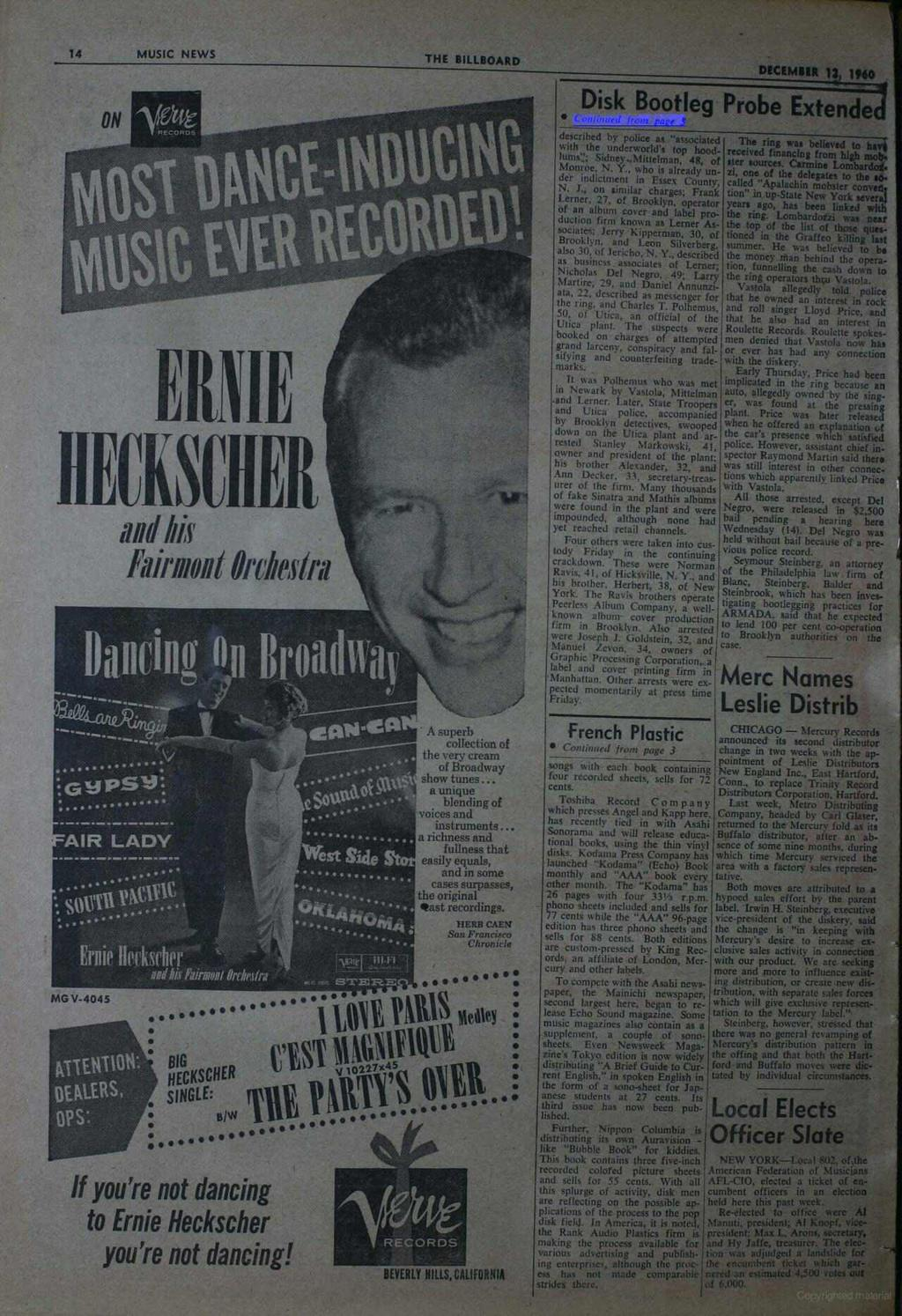 14 MUSIC NEWS THE BILLBOARD DECEMBER 13, 1960 Disk Bootleg Probe Extended ERNIE IIEUKSFIIER and his IGgPSv:....... AIR LADY MG V-4045 Ñiiiiìtìiìi Onhsini Ernie Heasrhrri aedbis &rmot Orfárllra r.