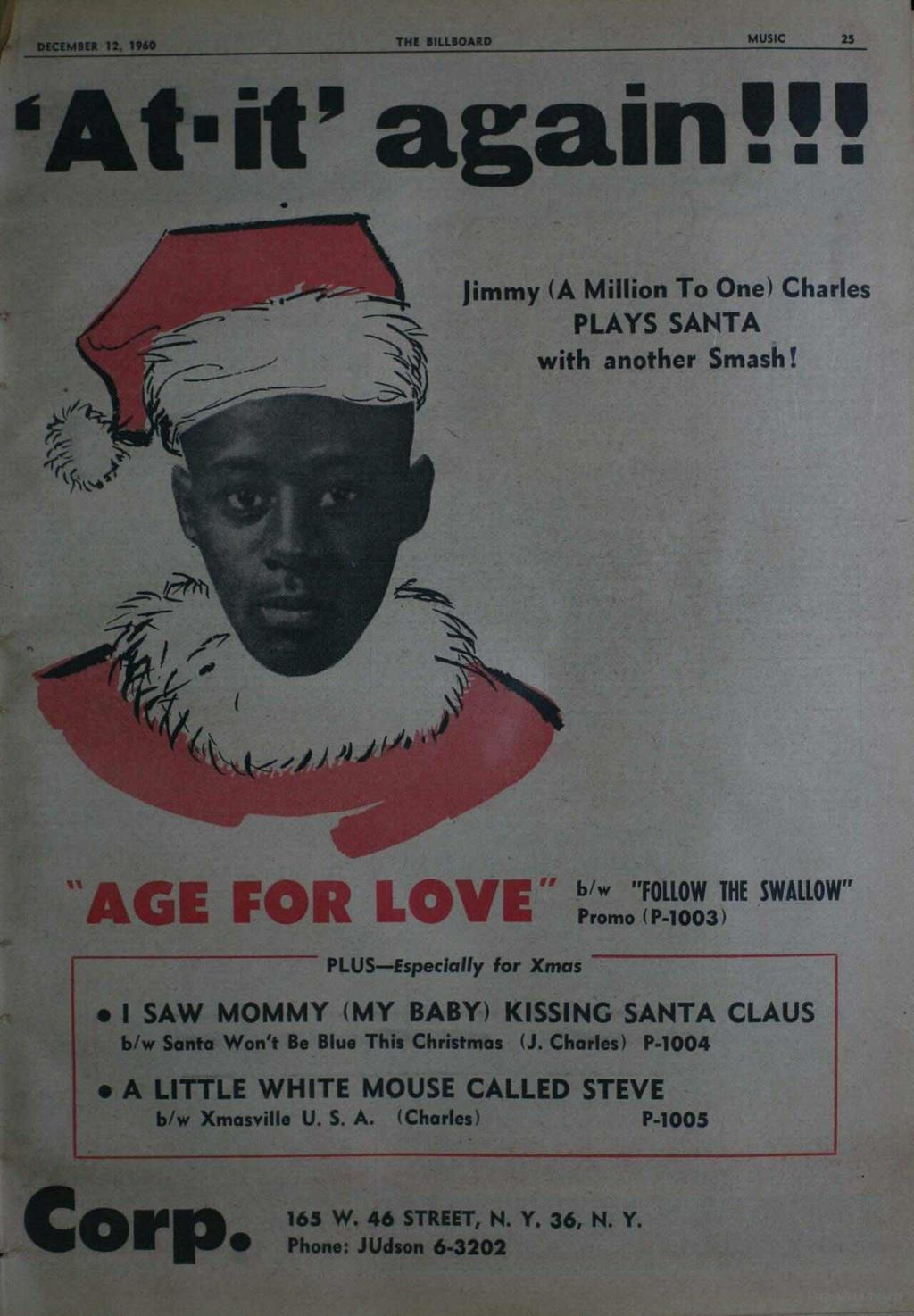 "DECEMBER 12, 1960 THE BILLBOARD MUSIC 25 Atit' again'"" Jimmy (A Million To One) Charles PLAYS SANTA with another Smash!"