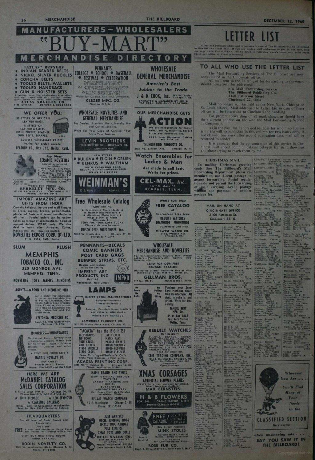 "56 MERCHANDISE THE BILLBOARD MANUFACTURERS - WHOLESALERS ""BUY MART"" MERCHANDISE DIRECTORY LETTER DECEMBER 12, 1960 LIST í..11n end oaekagea ddrevaed la brie. In core of The Billboard will be dyeml.c.l In Ma Ilel two Ilnie only."
