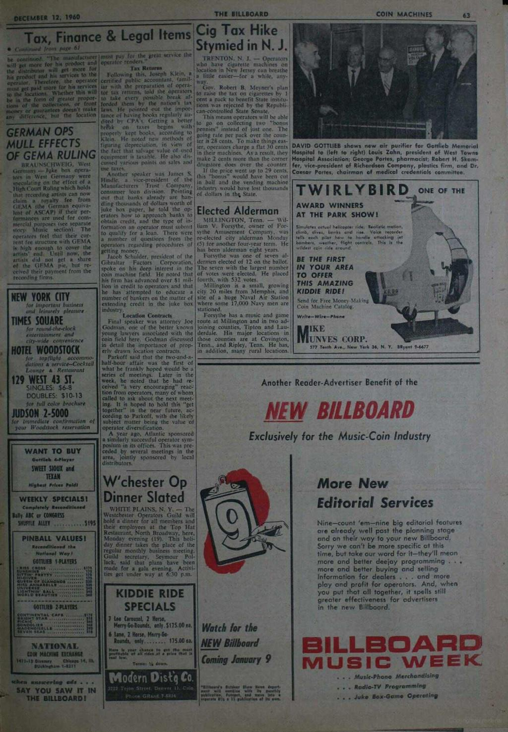 DECEMBER 12, 1960 THE BILLBOARD Tax Finance & Legal Items Cig Tax Hike 11 Continued front page 61 he continued.