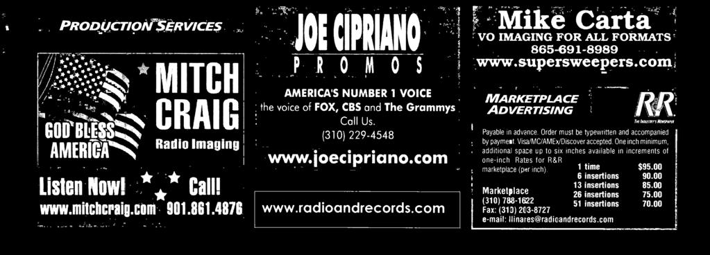 www.milchcraig.com 901.801.4876 g g FAJOE CIPRIANO! AMERICA'S NUMBER 1 VOICE the voice of FOX, CBS and The Grammys Call Us.