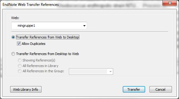 Import of references from EndNote Web to EndNote (or vice versa) In EndNote: