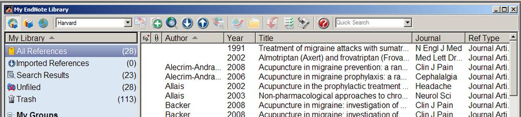 Organize References Sorting references Sort the references by clicking on the column heading (such as Author, Year, or Title) Delete