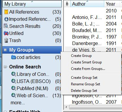 Highlight the references you want and drag them to the new group. Delete references from a group by highlighting the references, right click and choose cut.