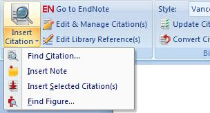In Word: Place cursor in manuscript where you would like the in-text citation to