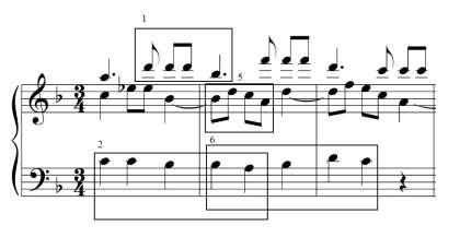 the heterophony is a long transition that uses variations of motives 1, 2, 5, and 6 (Example 7). Here, the iterations of motives 1 and 5 vary only slightly from their original forms.