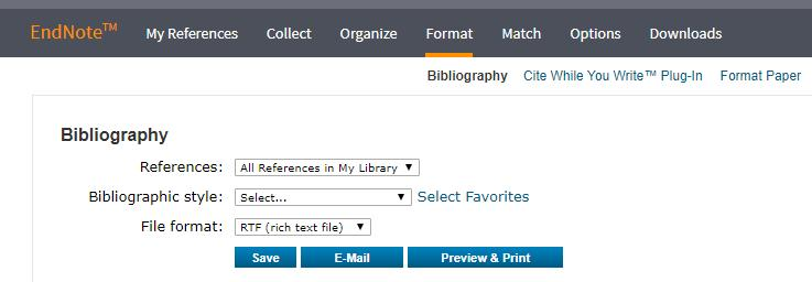 If the required referencing style is still not listed: Open EndNote Online. Click the format tab and then click bibliography just below.