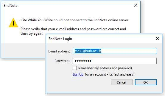 Top tips Not connected to EndNote whilst trying to Cite While You Write? Got this error message? Check you have entered your username and password for Endnote online correctly.