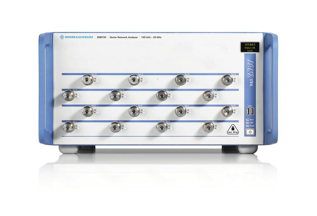 A 24 port R&S ZNBT8, for example, can simul taneously test six DUTs with four ports each.