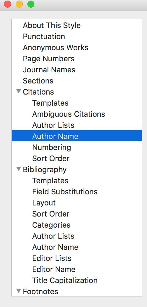 3. The window that opens contains the display settings for Citations, References and Footnotes for this style Editing In-text Citation display There are many different settings you can change,