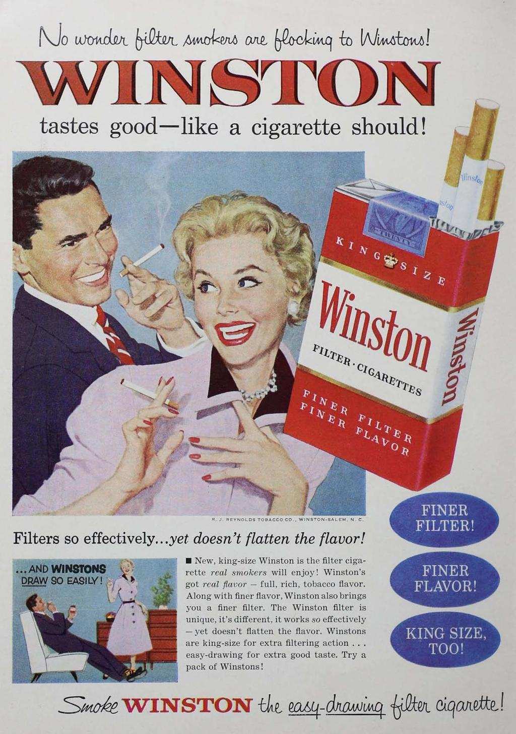 tastes good -like a cigarette should! Filters so effectively... yet doesn't flatten the flavor!... ANDWlN8IOH8 DRAW 90 (;AgILY!