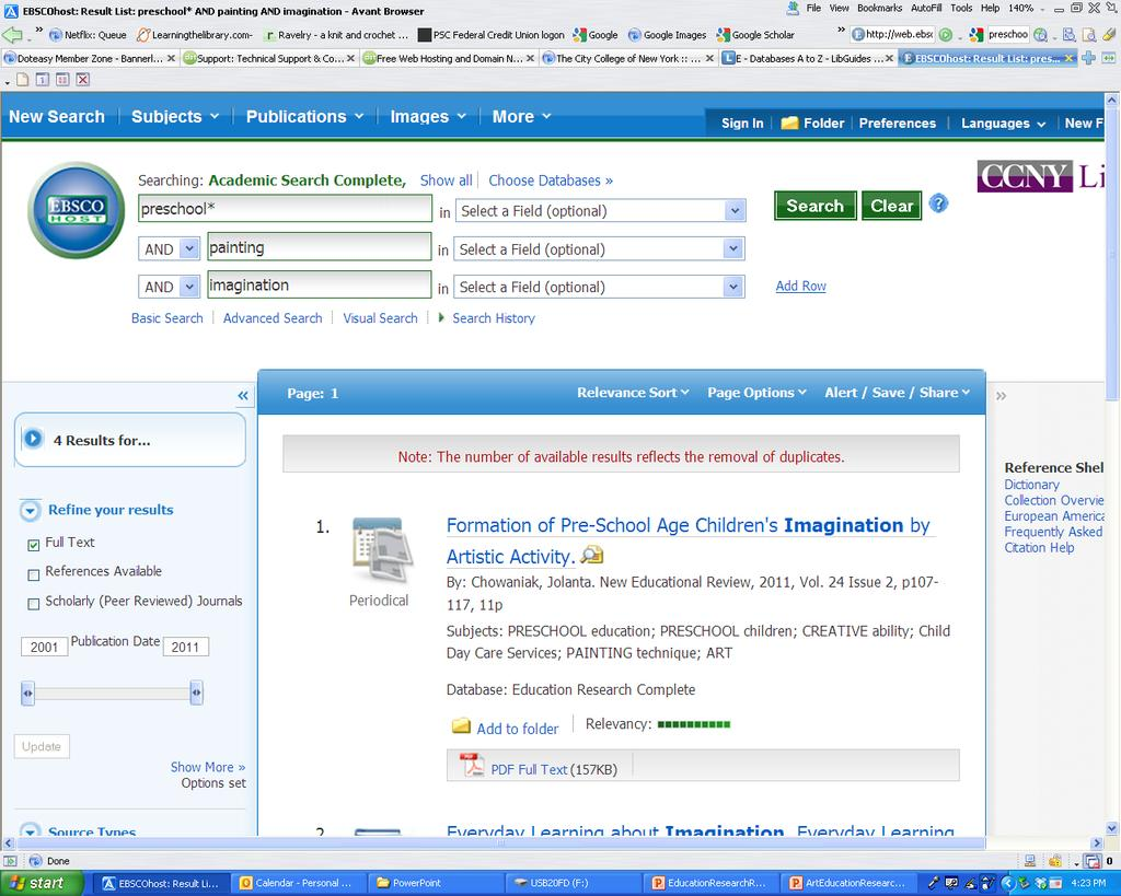 EBSCOHOST The results are displayed