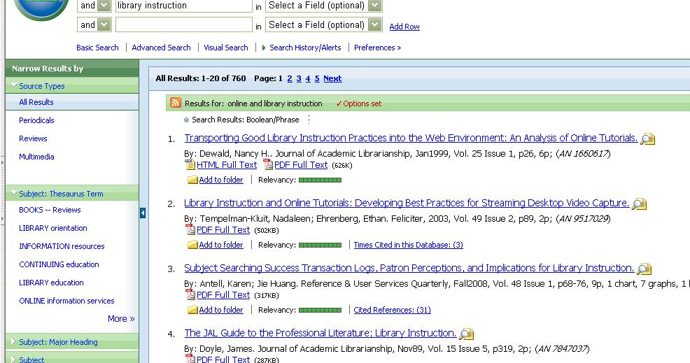 Exporting to RefWork Locate the articles you wish to export.