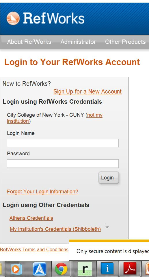 Exporting to RefWork To create an account click this