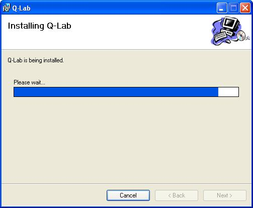 8. The Installing Q-Lab Window will appear momentarily to indicate the status of the software installation. 9. The Installation Complete Window will appear. Select the Close Button to exit.