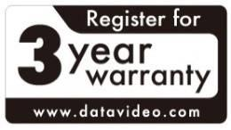 All non-datavideo manufactured products (product without Datavideo logo) have only one year warranty from the date of purchase.