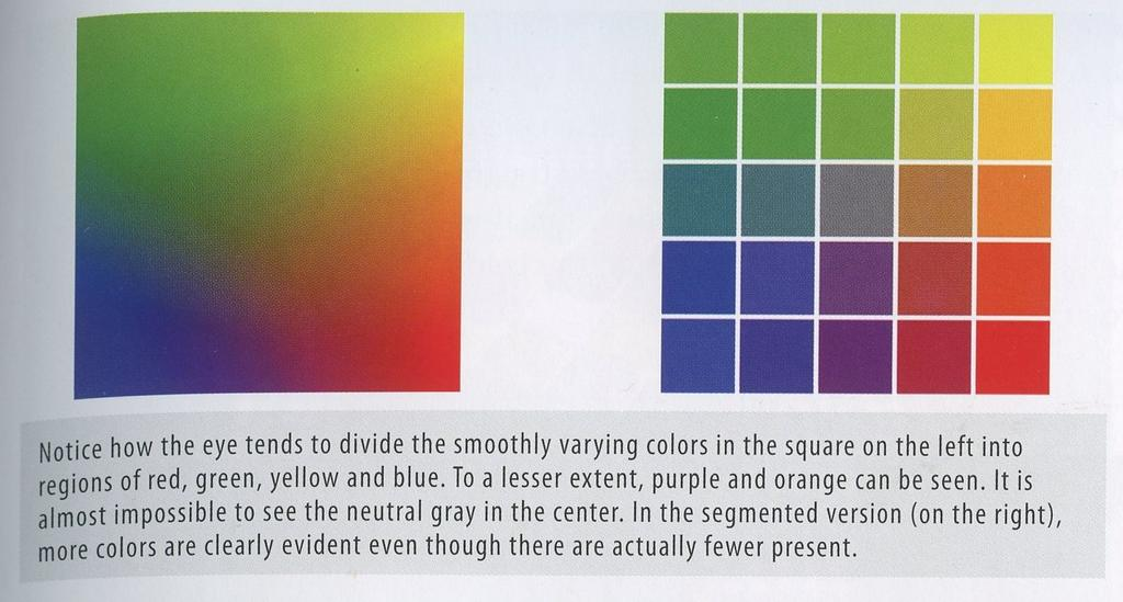 Color segmentation is that property that we have a strong tendency to
