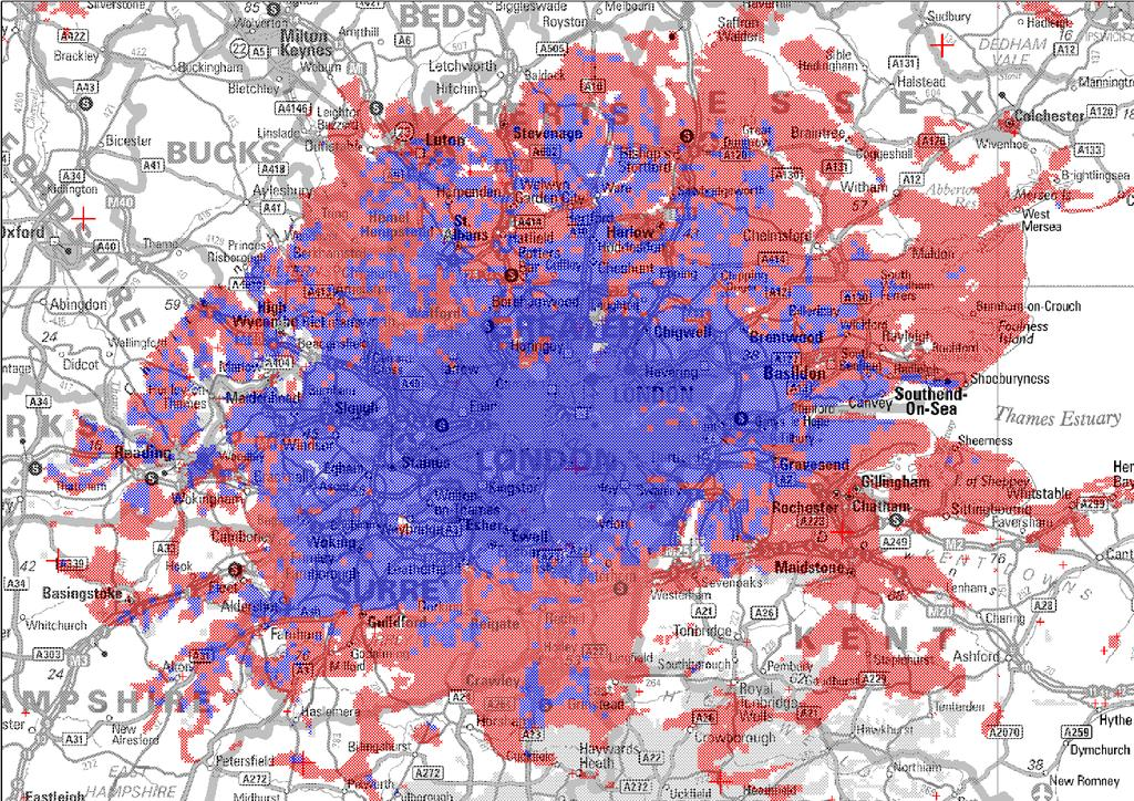 This map tries to show why analogue conversions appear so attractive. The red area shows the approximate coverage of the analogue service in the London area from the Crystal Palace transmitter.