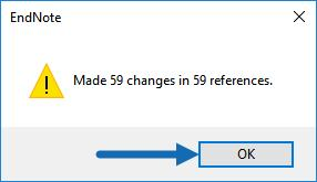 When finished with the changes, EndNote will report the number of references changed. Click the OK button to close the window.
